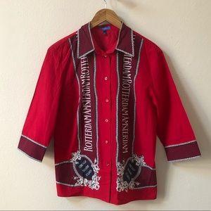 ESCADA rare red print Boston New York button shirt